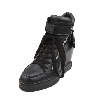新款女鞋坡跟内增高时尚休闲鞋