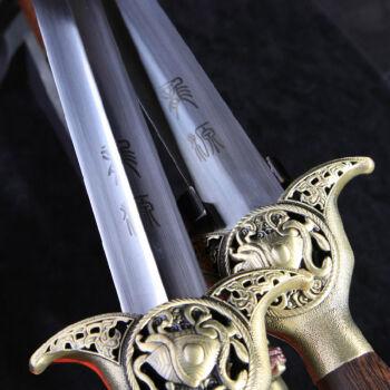 龙泉宝剑 龙源镇宅太极剑 畅销送剑袋厂家直销不锈钢晨练软剑 未开刃 26寸平脊+蓝色剑袋