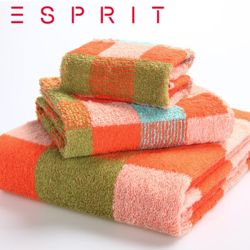ESPRIT 全棉毛巾组合 简袋装 TM01桔 方面浴三件组图片