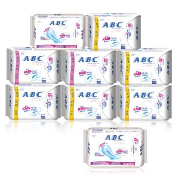 ABC纤薄纯棉排湿无黏腻卫生巾组合8送1(日40片+夜16片+加长夜6片)含KMS健康配方加量不加价