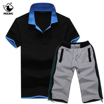 艾酷狼正品新款夏装运动服套装男短袖T恤韩版休闲七分短裤套装T18