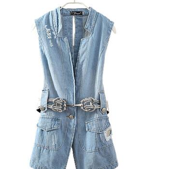 品2014新款无袖背心外套中长破洞百搭牛仔马甲 配腰带 浅蓝色 L