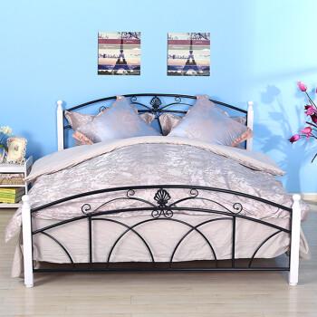 美亿佳 北欧宜家田园铁艺床 双人床实木床白色床单人 钢木床 公主床1.