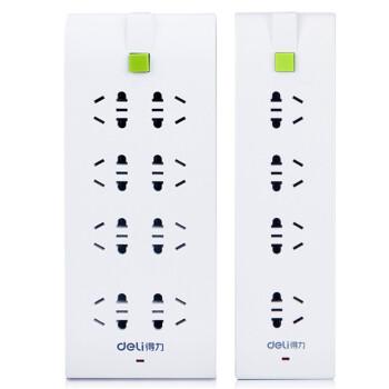 得力(deli) 33081 超值炫彩电源插座组合套装 8位+4位总控 绿色