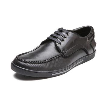 LANTIVY 朗蒂维 商务休闲真皮时尚男鞋(黑色、羊皮)