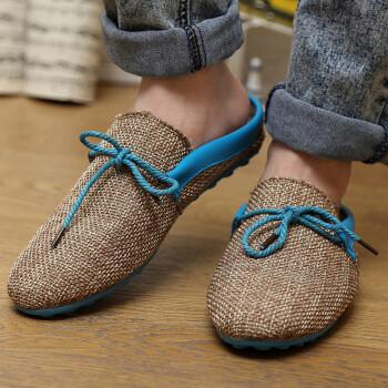 友臣个性包头半拖鞋男士帆布鞋男式凉拖鞋