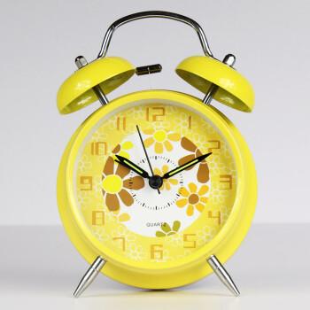 琪特 创意双铃闹钟 A-1401 黄色款 4寸(超静音带夜光)