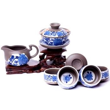 唯茶工坊古法制陶系列8入灵芝盖碗