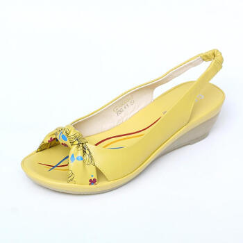 新款真皮鱼嘴坡跟鞋时尚蝴蝶结中跟女凉鞋c21a0031