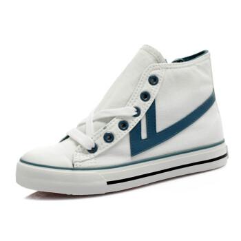 回力warrior2012经典款 高帮帆布鞋小童鞋 大童鞋 男女款7788 白蓝