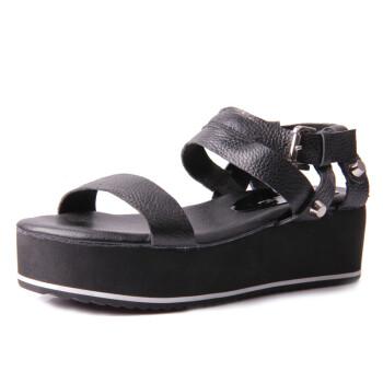 施萌凉鞋牛皮休闲鞋女厚底坡跟鞋松糕鞋防水台坡跟鱼