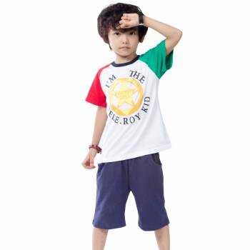 巴乐乐伊童装男童夏装纯棉短袖T恤065 白色 衣 110