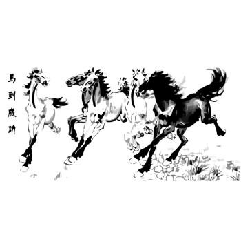 菲绣绣艺 diy自助数字油画 中国风水墨画大画 动物插画 马