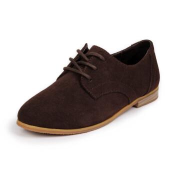 新款复古英伦风女鞋平底鞋牛津鞋欧美布洛克平跟单鞋