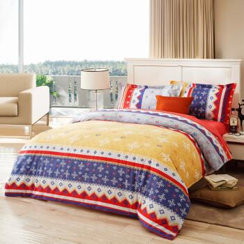 LOVO 罗莱家纺 全棉磨毛印花双人加大1.8米床四件套卡米拉¥549-150