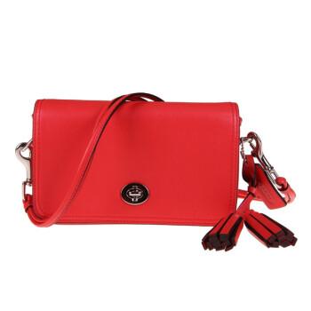 女士 纯皮砖红色斜挎包