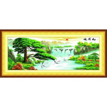 丽雅精准印花卉十字绣 迎客松鹤寿延年 家装大画怎么样,好不好图片