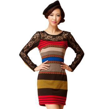 2新款秋装特价复古民族风蕾丝圆领长袖优雅修身连衣裙