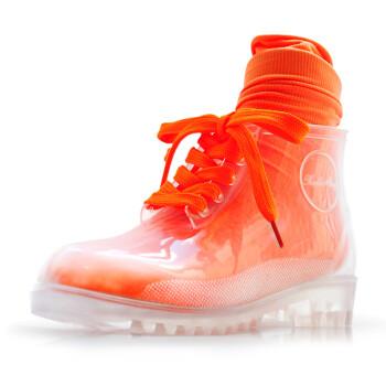 女式透明雨鞋水晶雨靴时装水鞋