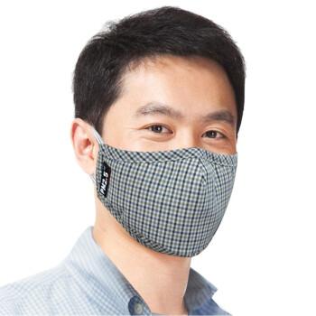 绿盾PM2.5抗菌防尘口罩蓝灰格L 舒适保暖型 雾霾口罩(纸盒/塑料)装