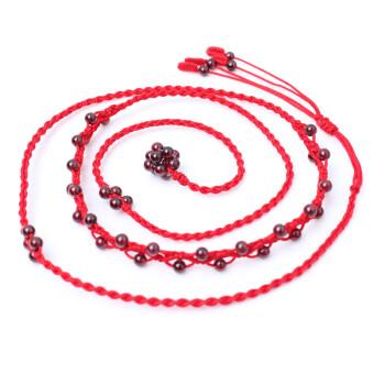 雁唐珠宝 天然石榴石腰链 手编红绳腰链 美容养颜 礼物女 2.9尺