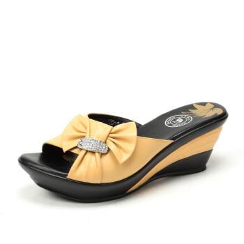 骆驼(camel)羊皮女士凉拖鞋时尚蝴蝶结时尚坡跟凉鞋