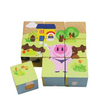 木玩世家9粒木质立体积木拼图