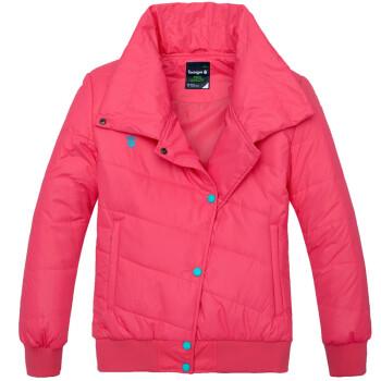 京东商城11.11八哥 bage 女式纯色斜边扣保暖防风棉衣