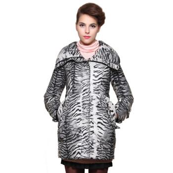 臣枫专柜正品新款冬装 斑马纹翻领修身中长款羽绒服