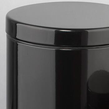 圆形不锈钢脚踏黑色垃圾桶套装