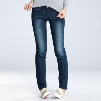 森马 女款水洗修身小脚弹力牛仔裤铅笔裤15241411001 牛仔深蓝