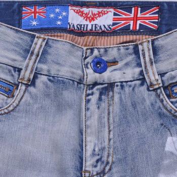 【亚仕】新款日单男式破洞个性修身牛仔裤
