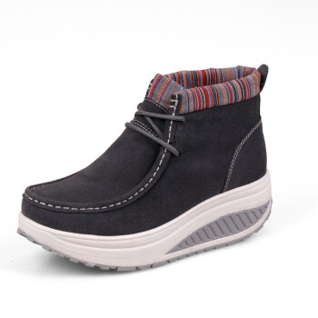 鞋女鞋子 秋季厚底坡跟松糕棉鞋