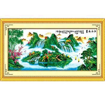 绣美人十字绣江山如画财源滚滚 山水风景客厅大画 100 精准印花不偏格图片