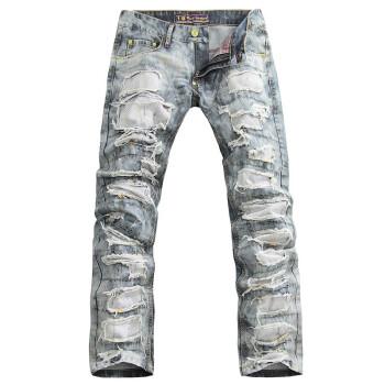 男士直筒牛仔裤乞丐裤