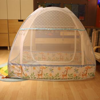 美朵嘉卡通婴儿钢丝蚊帐儿童宝宝婴童床可折叠蒙古包高低门防蚊布 卡通 65*115cm