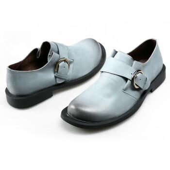鞋扣带牛皮平底鞋女