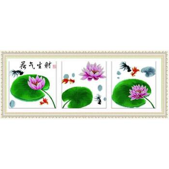 美岸 十字绣荷气生财(三联)J-M2256 精准印布版 43*43cm*3