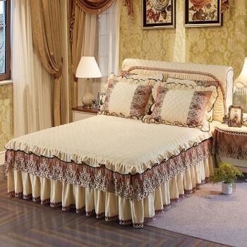 君梦莱家纺 床裙单件夹棉加厚床罩水晶绒冬季保暖床垫保护套防滑床笠三件套 盛世米色 150*200cm单个床裙