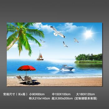 3d立體墻貼壁畫貼紙壁紙自粘墻紙海灘客廳風景畫大自然背景墻貼畫 s