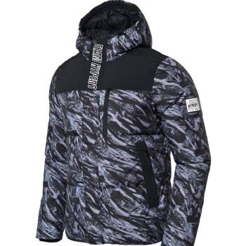 李宁 LINING AYMM101-2 运动时尚系列 男 短羽绒服 标准黑组合色匹印 3XL码