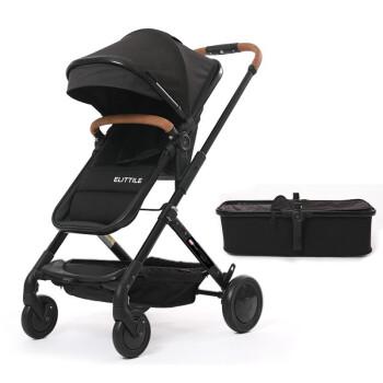 elittile高景观婴儿推车 可坐可躺轻便折叠便携推车双向儿童手推车 黑色【座舱+睡篮】