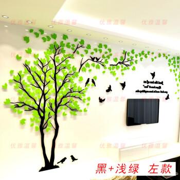 力克墙纸壁纸自粘客厅卧室背景墙大树墙贴纸自粘防水10米 黒枝+浅绿叶