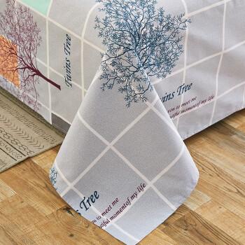雅鹿 床单 加厚老粗布床罩可机洗单双人床单单件 Twins Tree灰格 200*230cm