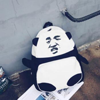 日韩新款熊猫金馆长暴走移动表情包张学友帆布个性双肩包书包背包 张图片