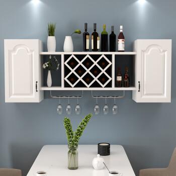 酒柜壁挂式简约客厅吊柜菱形酒格子墙壁装饰 长140宽30高60暖白欧式门