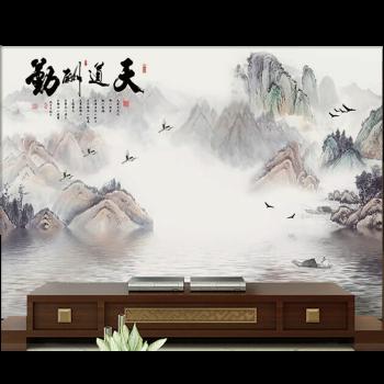 中式电视背景墙壁纸家用5d立体装饰山水画客厅大气 jy