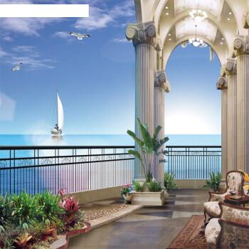立体墙贴墙纸墙画风景阳台窗户贴画酒店自粘壁画客厅背景墙壁纸 阳台