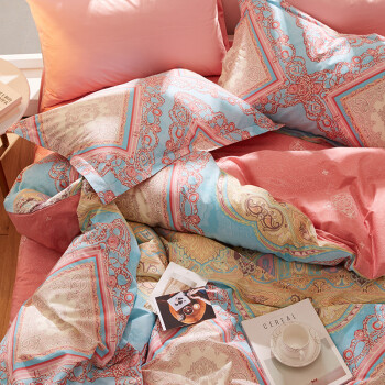博洋家纺(BEYOND)床品套件 纯棉四件套北欧风全棉斜纹床单被套双人1.8米床上用品 西莉雅220*240cm