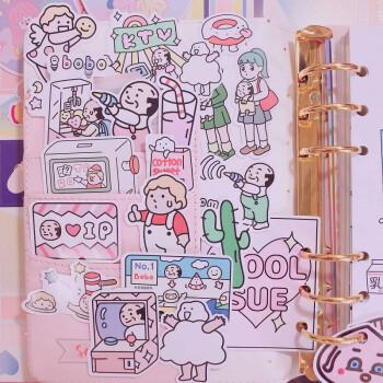 韩国ins少女贴手机手帐贴纸 韩国diy装饰素材手帐本可爱小贴画 全套